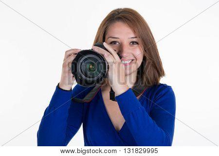 Female Photographer Shooting You Isolated On White