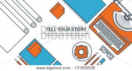 Vector illustration. Flat typewriter. Tell your story. Author. Blogging. Lined, outline.