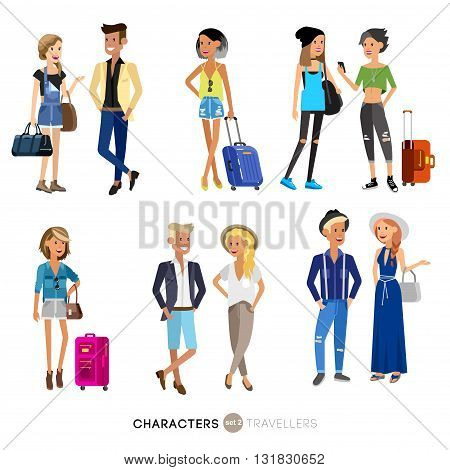 Detailed character people on vacation, family travels, couple goes on vacation, people with suitcases. Illustration of characters tourists