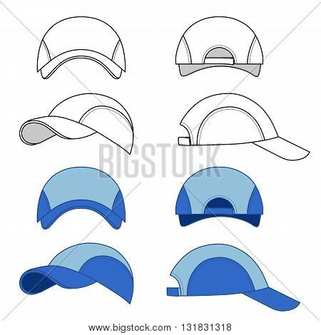 Baseball tennis cap illustration featured front back side top vector illustration isolated on white background