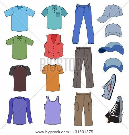 Menswear headgear & shoes colored season collection vector illustration isolated on white background