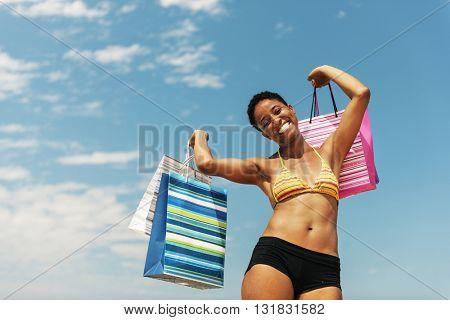 African Girl Beach Summer Sale Shopping Bag Concept