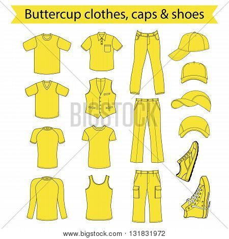 Menswear headgear & shoes buttercup season collection vector illustration isolated on white background