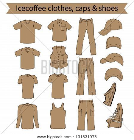 Menswear headgear & shoes icecoffee season collection vector illustration isolated on white background