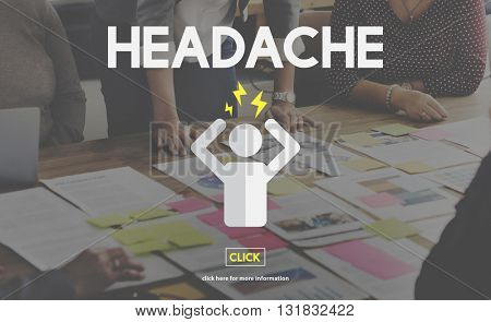 Headache Illness Sick Sad Migraine Concept