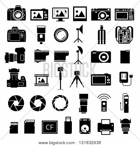 Camera and many photo accessories icons. Vector EPS8 set on white background