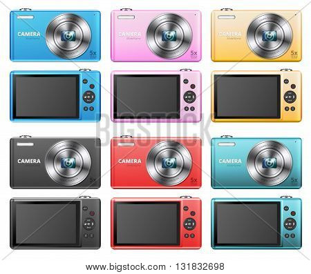 Set of small point and shoot digital cameras different colors. Vector illustration