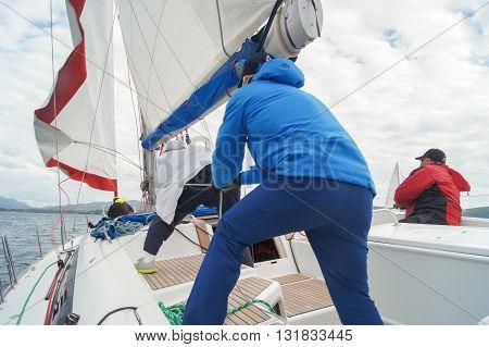 Tivat, Montenegro - 27 April, People sail pulling the rope, 27 April, 2016 Regatta