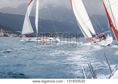Tivat, Montenegro - 28 April, Sailboat entering the turn, 28 April, 2016 Regatta
