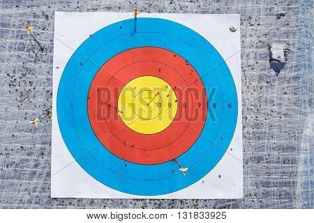 Closeup On Outdoor Archery Target Board With Arrow On Bullseye