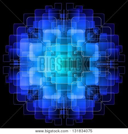 Abstract background with blue digital screens overlapping. Illustration on black background