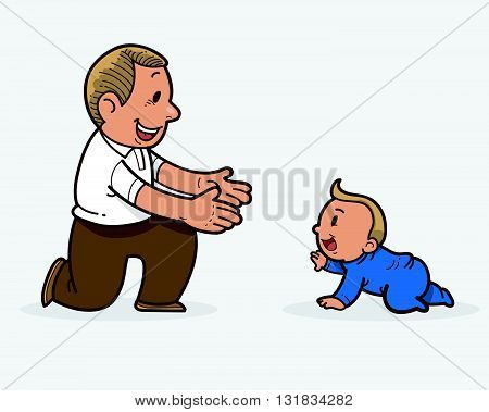 Vector image illustration of a baby and father
