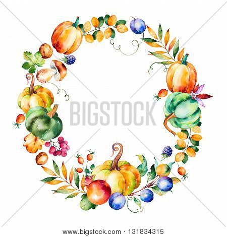 Colorful autumn wreath with fall leaves, branches, berry, blackberry, mushroom, pumpkins, walnut, prunes, pomegranant and more.