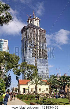 TEL AVIV ISRAEL - APRIL 27 2016: Construction of high-rise building in the Sarona quarter in Tel Aviv