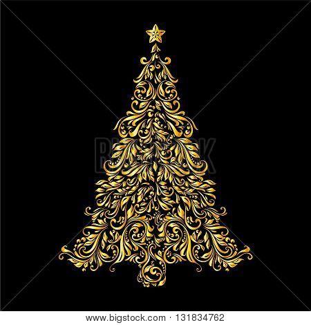 Golden Christmas tree of ornate floral pattern over black background