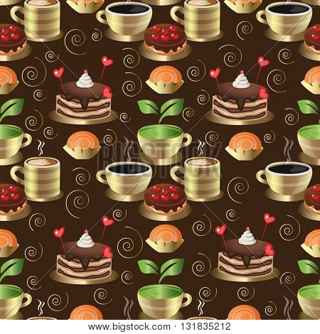 Seamless background from sweet desserts , coffee and hot tea with steam.Gold  plates, gold saucers and gold cups are on the brown background.