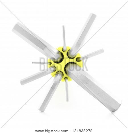 Allen wrench metal tool for repair isolated on white background