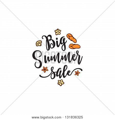 Vector summer element with text, flip flops and flowers on white background. Big Summer sale