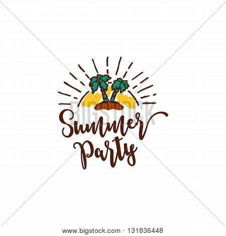 Vector summer element with text, palm trees and sun on white background. Summer party