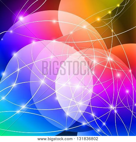 Multicolored Internet background with shiny network dots concept
