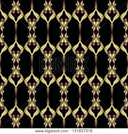Vertical seamless golden floral pattern on black background