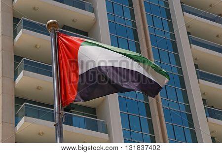 close up of flag of United Arab Emirates