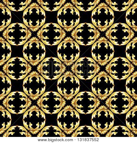 Seamless golden floral patterns on the black background