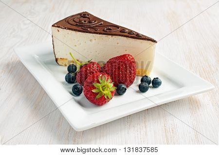 Cake Souffle Or Cheesecake With Berries