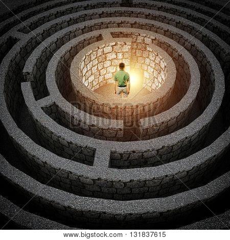 man stands in front of the exit of the labyrinth