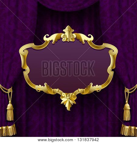 Dark violet curtain with suspended gold decorative baroque frame. Square presentation artistic poster and placard