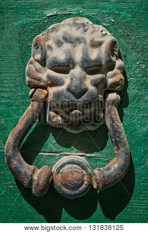 steel door handle in the form of a lion