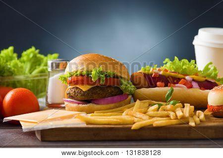 fast food hamburger hot dog menu with burger french fries tomato cola and many more