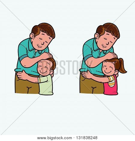 Vector Illustration of family father and child
