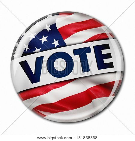 Photorealistic 3D render of a vote button with the American flag over white background