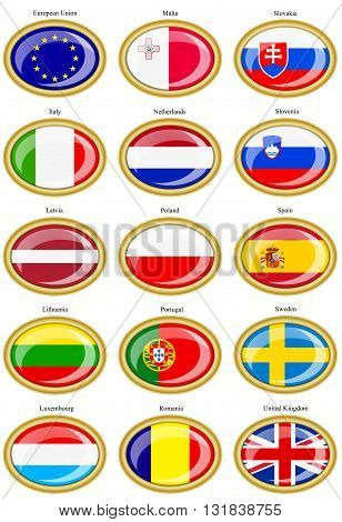 Set of icons. Flags of the European Union.