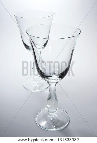 Elegant, empty wineglasses, study shot with white background