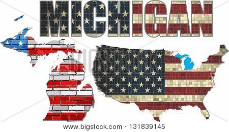 USA state of Michigan on a brick wall - Illustration, The flag of the state of Michigan on brick textured background,  Michigan Flag painted on brick wall, Font with the United States flag,  Michigan map on a brick wall
