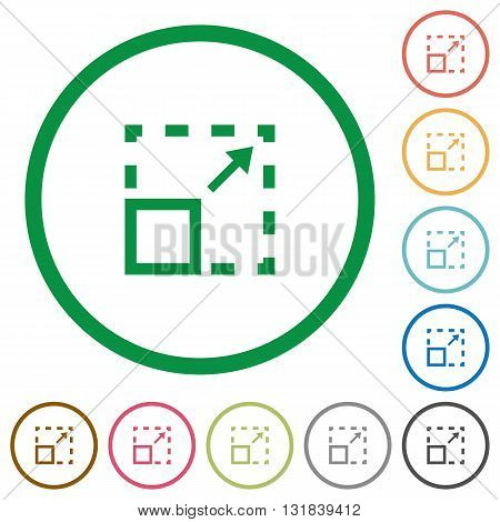 Set of Maximize element color round outlined flat icons on white background