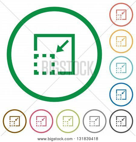 Set of Minimize element color round outlined flat icons on white background
