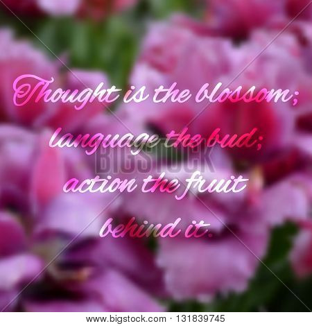 Blurred floral background with motivational phrases - EPS10