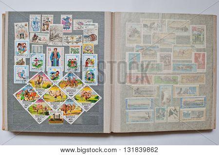 Uzhgorod, Ukraine - Circa April, 2016: Collection Of Postage Stamps In Album From  Czechoslovakia An