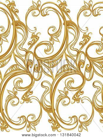 Baroque gold seamless pattern on a white background.