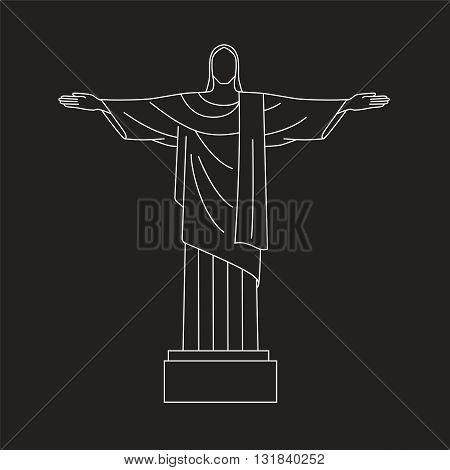 Vector Flat line  Icon of Christ the Redeemer, Rio De Janeiro, Brazil