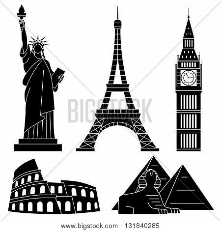 World Landmarks, Eiffel Tower,  Sphinx, Colosseum. Vector flat icons set.