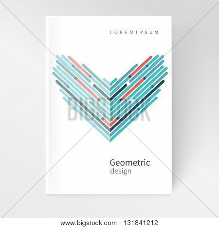 Vector abstract geometric background/ red and blue Diagonal lines intersect. White business brochure cover template EPS 10