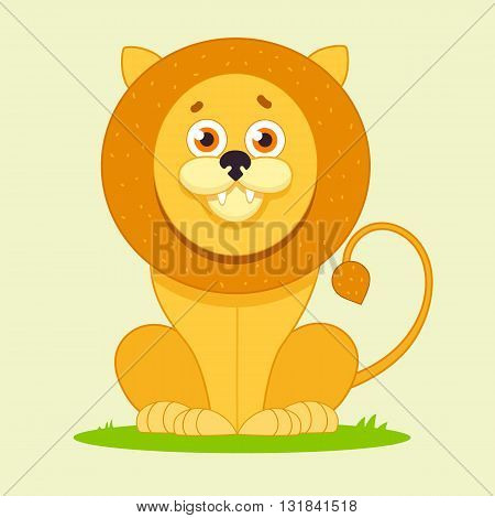 cartoon lion sitting and smiling, character for kids, funny