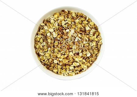 Oatmeal porridge close up on white isolated background