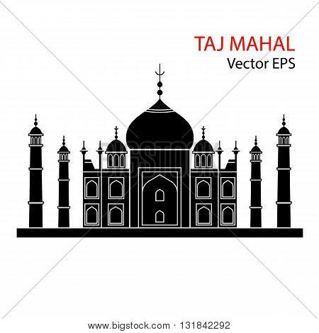 Taj Mahal, India. Vector flat illustration isolated on white background.