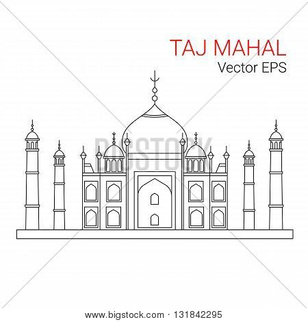 Taj Mahal, India. Vector line flat icon isolated on white background.