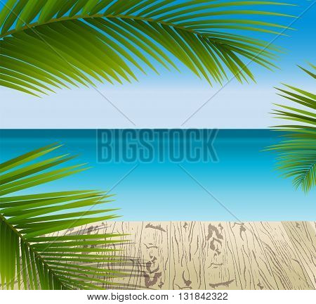 Sunny summer day in a tropical Paradise green palm leaves on the wooden pattern flooring. Blue ocean seascape.